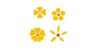 図形で描く黄色の花