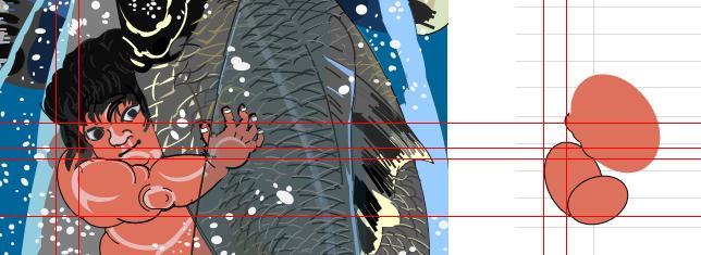 Excelで描く歌川国芳「坂田怪童丸」の描き方