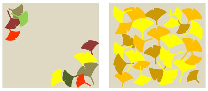 excelお絵描き イチョウの葉